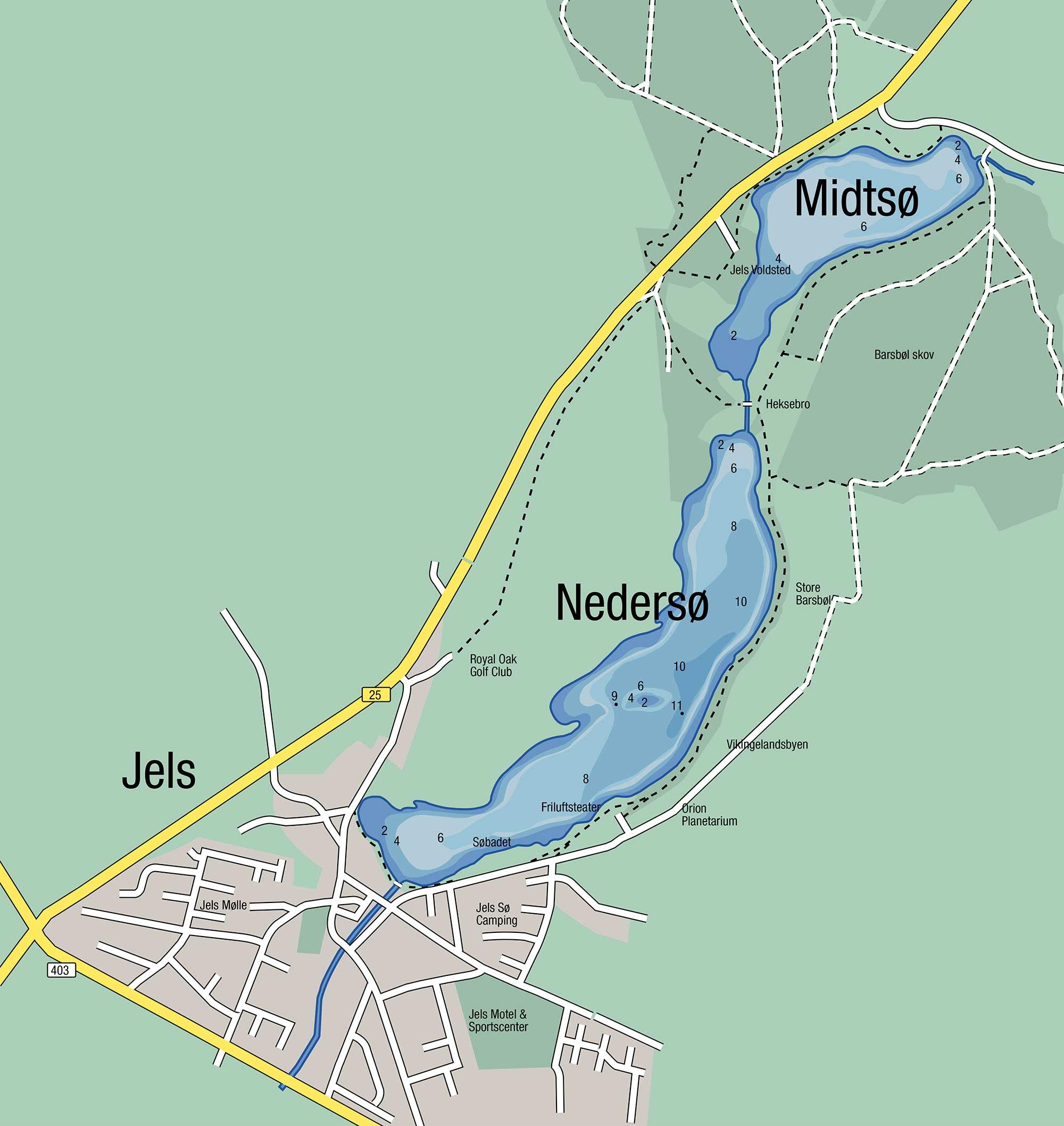 Kort over Jels Søerne